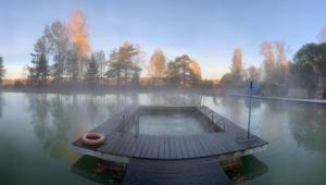 Термальное озеро , пляжная зона, беседки, мангалы